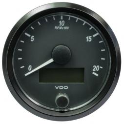 VDO SingleViu A2C3832960001 Tachometer 2.000 RPM Black 80mm
