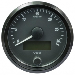 VDO A2C3832980001 SingleViu Tachometer 3.000 RPM Black 80mm