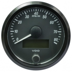 VDO SingleViu A2C3833020001 Tachometer 8.000 RPM Black 80mm
