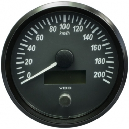 VDO SingleViu A2C3832840001 Speedometer 200 Km/h Black 100mm