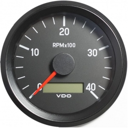 VDO Cockpit International® 333-035-011G RPM and hour counter, 0-4000, Ø80mm 12-24V