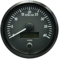 VDO A2C3832800001 SingleViu Tachometer 4.000 RPM Black 100mm