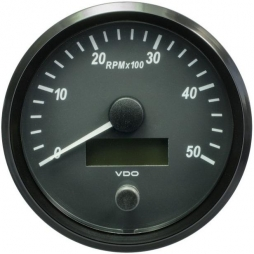 VDO A2C3832790001 SingleViu Tachometer 5.000 RPM Black 100mm
